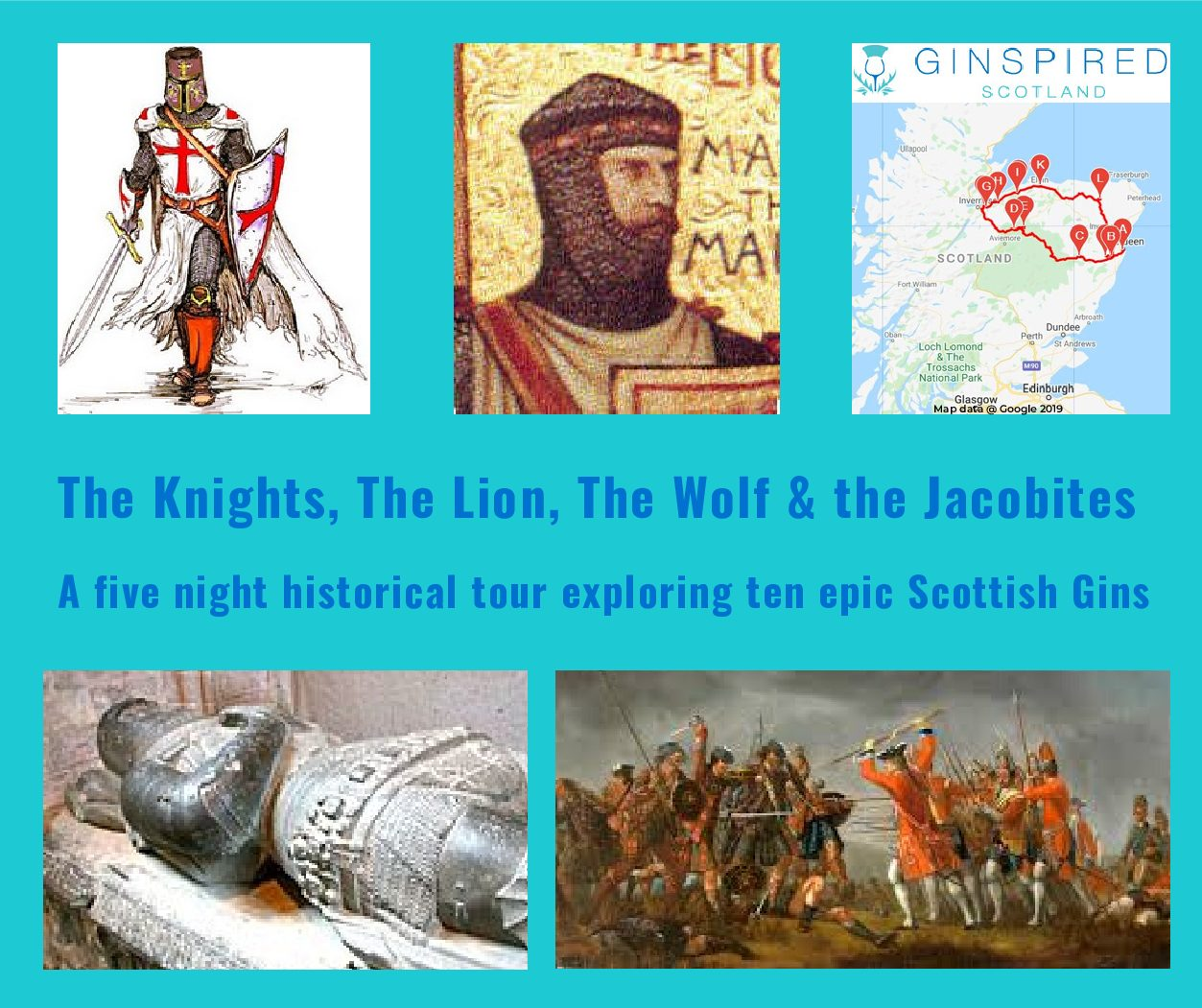 Historic Tour of North East Scotland with Scottish Gins. Knights Templar, Jacobites, Culloden, Wolf of Badenoch