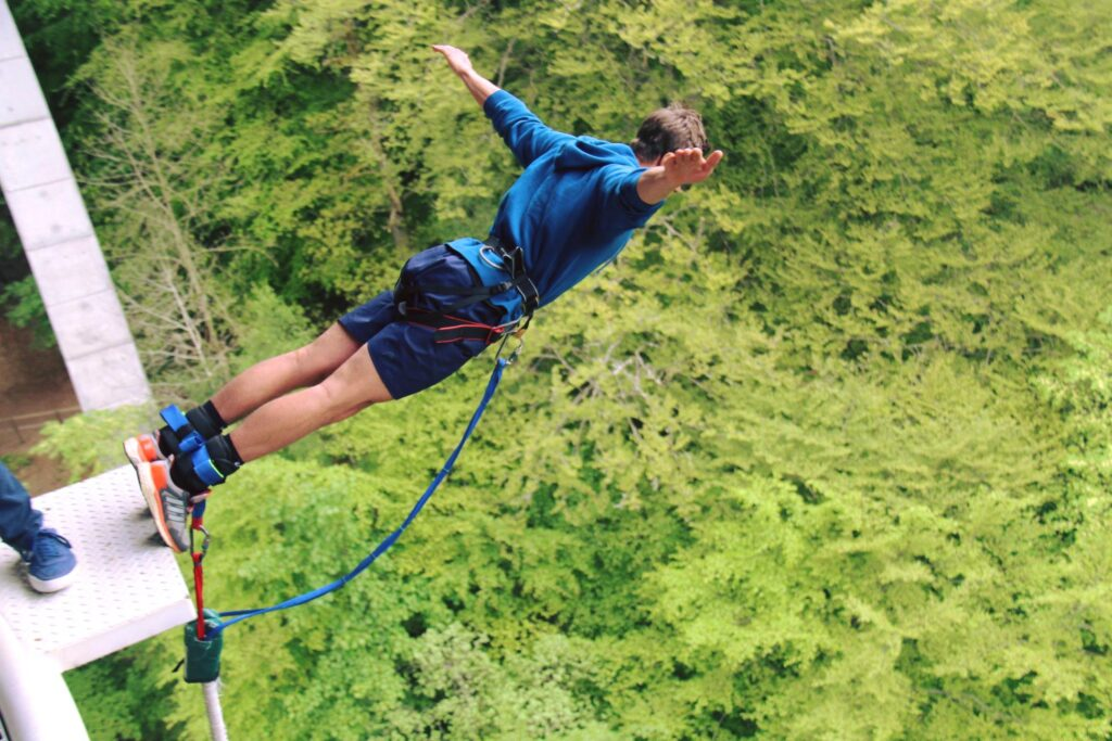 Photo of bungee jumper at Killiecrankie