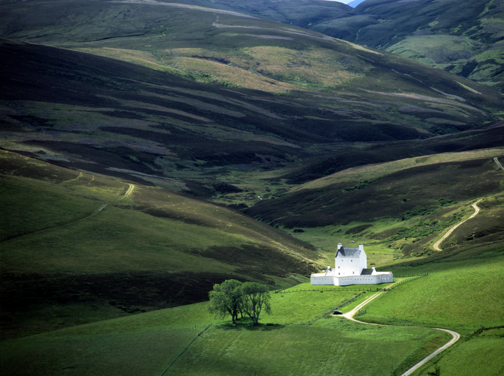 Corgarff Castle in the distant valley, for Ginspired Scotland Royal Deeside road trip series